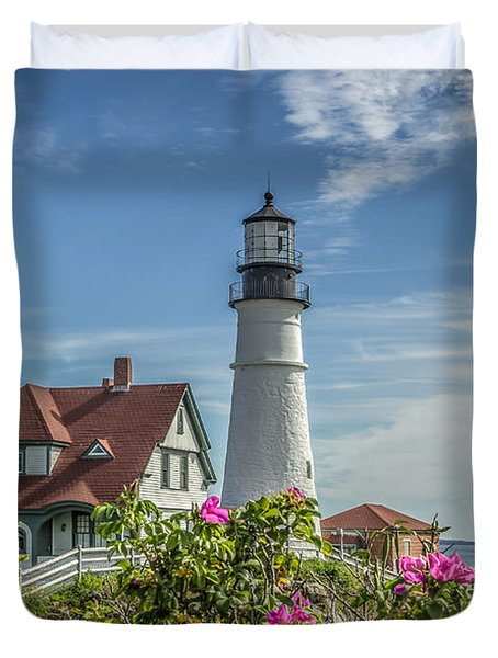 Lighthouse And Wild Roses Duvet Cover by Jane Luxton