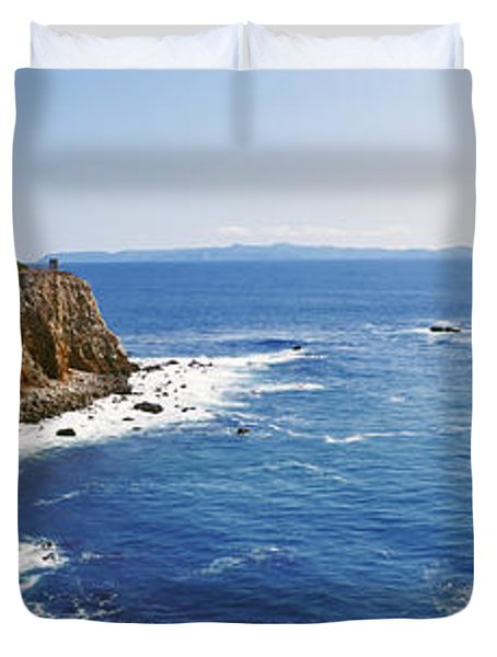 Lighthouse At A Coast, Point Vicente Duvet Cover by Panoramic Images