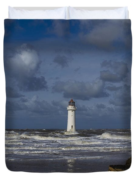 lighthouse at New Brighton Duvet Cover