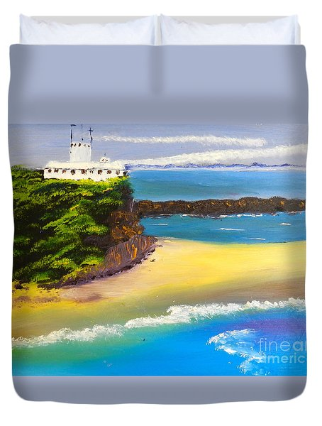 Duvet Cover featuring the painting Lighthouse At Nobbys Beach Newcastle Australia by Pamela  Meredith