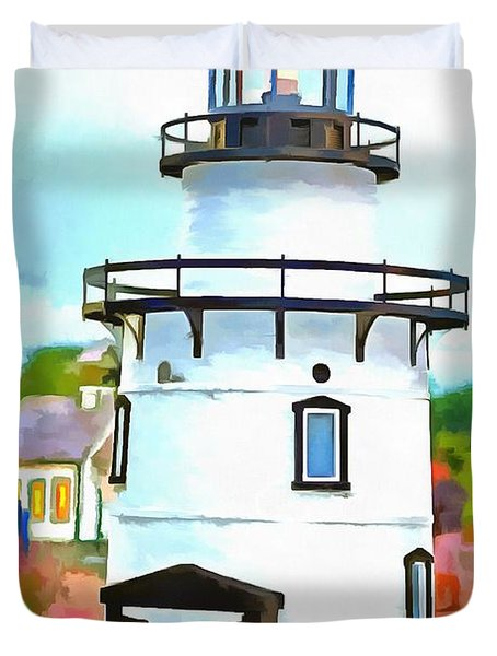 Lighthouse At Old Saybrook Point Duvet Cover