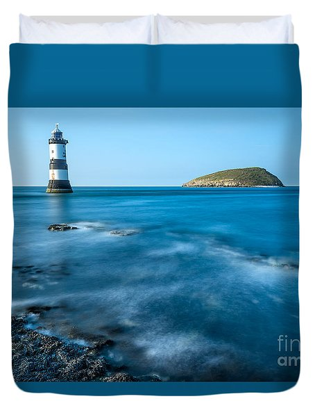 Lighthouse At Penmon Point Duvet Cover by Adrian Evans