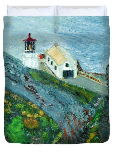 Lighthouse At Point Reyes California Duvet Cover