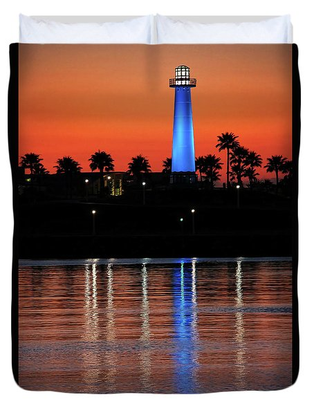 Lighthouse At Queensway Bay Duvet Cover by Mariola Bitner