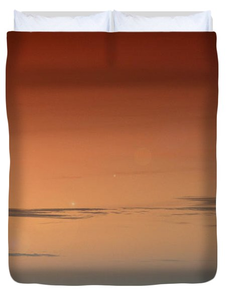 Duvet Cover featuring the photograph Lighthouse At Sunrise by Julis Simo