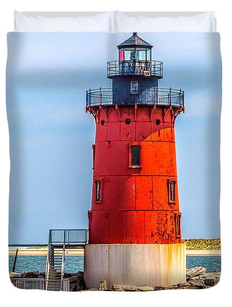 Lighthouse At The Delaware Breakwater Duvet Cover