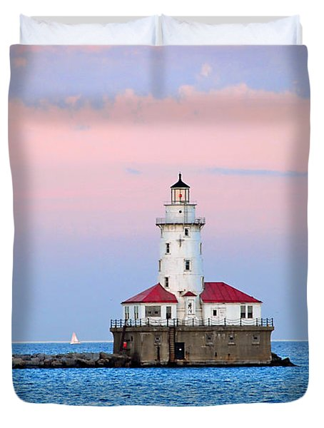 Lighthouse At The Navy Pier Duvet Cover by Lynn Bauer