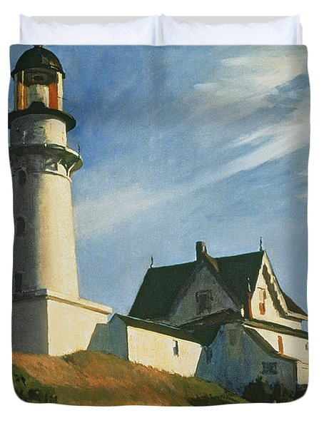 Lighthouse At Two Lights Duvet Cover
