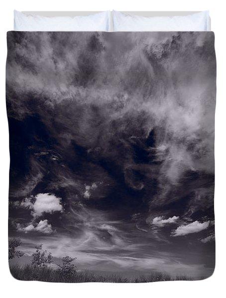 Lighthouse Beach Dunes Bw Duvet Cover by Steve Gadomski