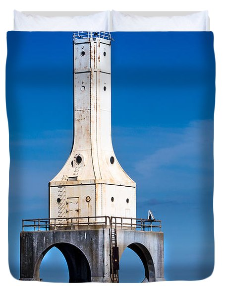Lighthouse Blues Vertical Duvet Cover