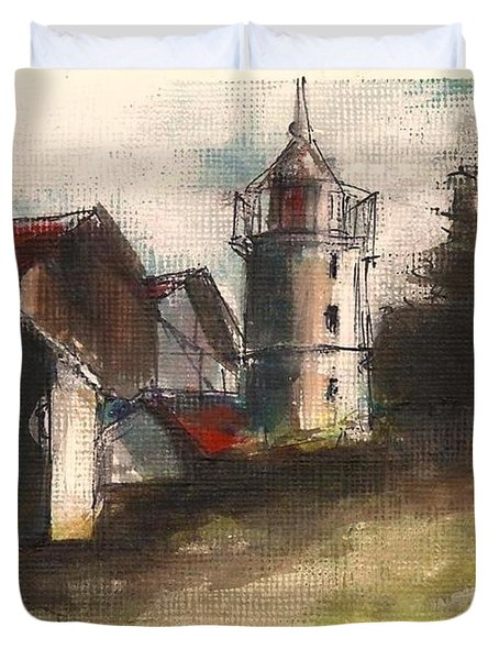 Lighthouse By Day Duvet Cover