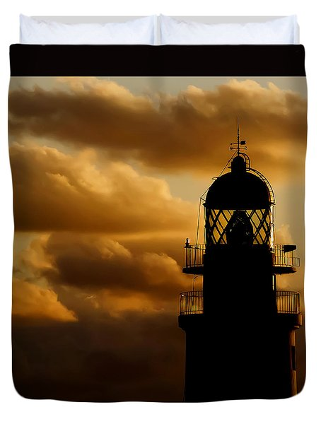 lighthouse dawn in the north coast of Menorca Duvet Cover