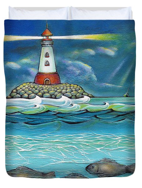 Lighthouse Fish 030414 Duvet Cover
