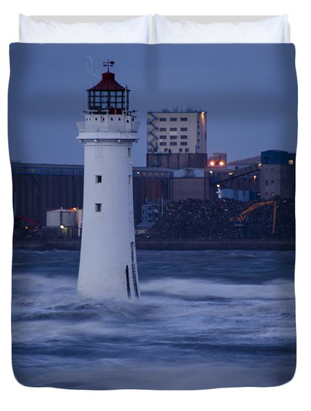 Lighthouse In The Storm Duvet Cover