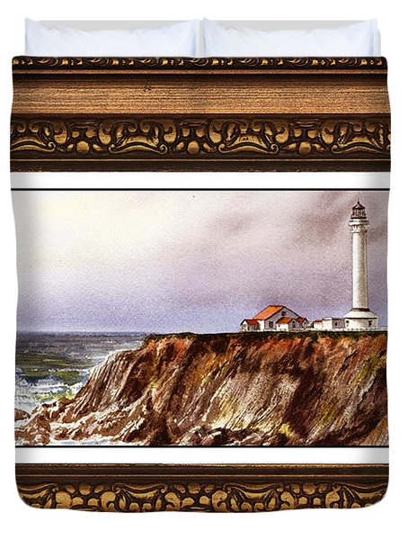 Lighthouse In Vintage Frame Duvet Cover