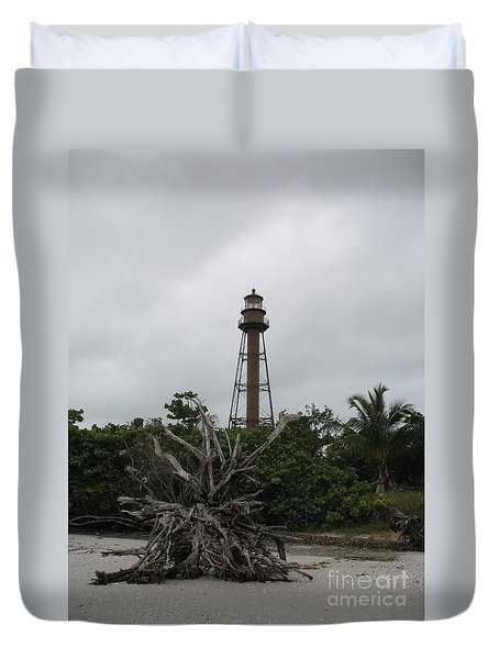 Lighthouse On Sanibel Island Duvet Cover by Christiane Schulze Art And Photography