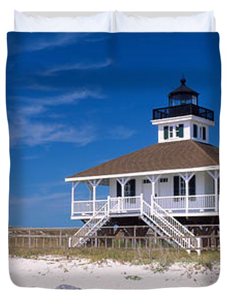 Lighthouse On The Beach, Port Boca Duvet Cover by Panoramic Images