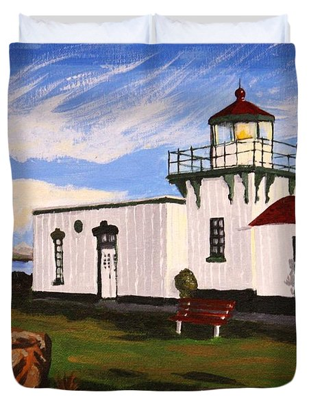 Lighthouse Point No Point Duvet Cover by Vicki Maheu