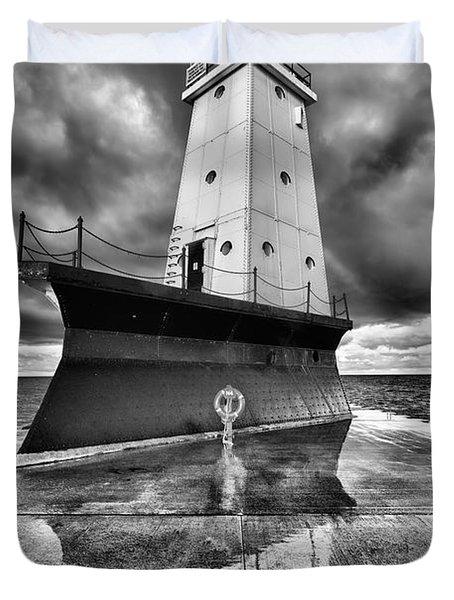 Lighthouse Reflection Black And White Duvet Cover by Sebastian Musial