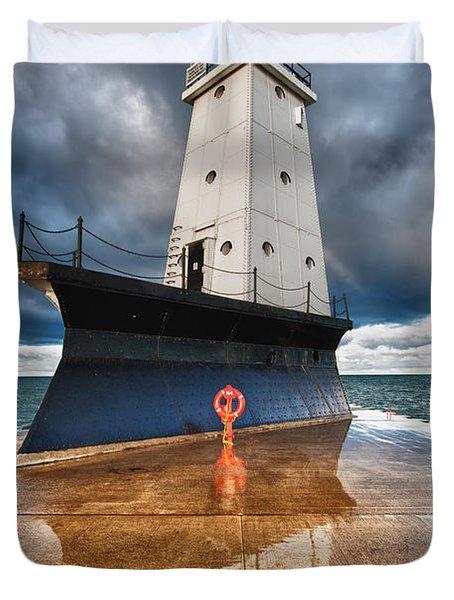 Lighthouse Reflection Duvet Cover by Sebastian Musial