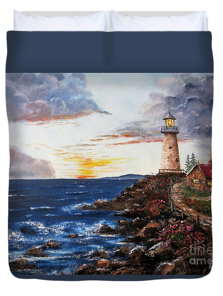 Lighthouse Road At Sunset Duvet Cover by Lee Piper