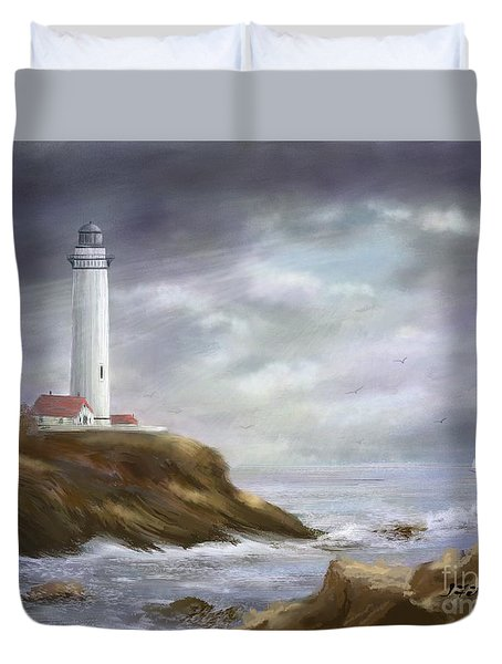 Lighthouse Stormy Sky Seascape Duvet Cover