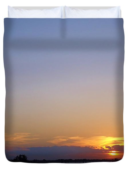 Lighthouse Sunset Duvet Cover by Art Dingo