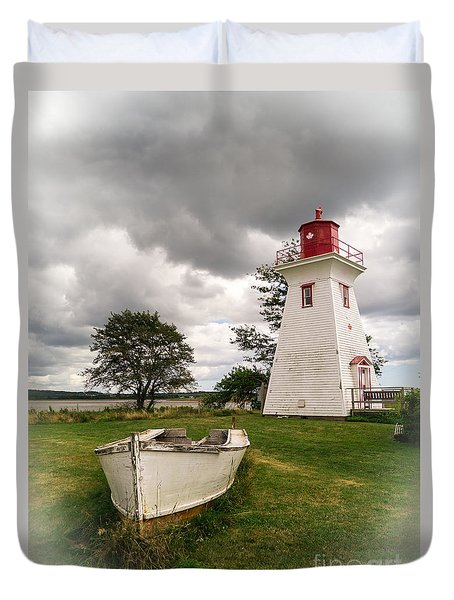Lighthouse Victoria By The Sea Pei Duvet Cover by Edward Fielding