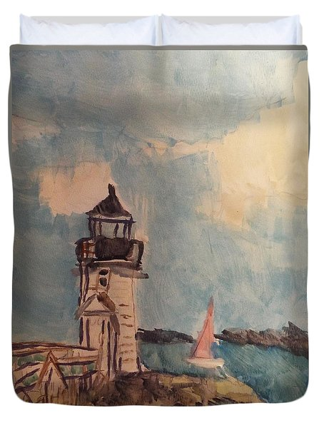 Duvet Cover featuring the painting Lighthouse Watercolor by Cathy Anderson