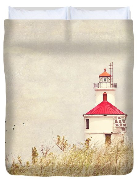 Lighthouse With Red Roof Duvet Cover