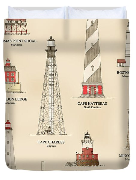 Lighthouses Of The East Coast Duvet Cover
