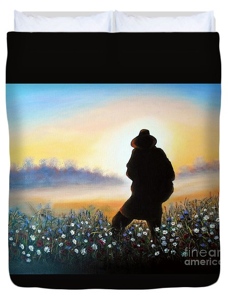 Duvet Cover featuring the painting Lighthunter by Vesna Martinjak