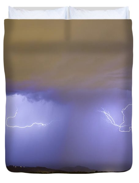 Lightning And Rain Over Rocky Mountain Foothills Duvet Cover by James BO  Insogna