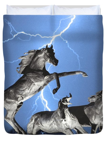 Lightning At Horse World Bw Color Print Duvet Cover