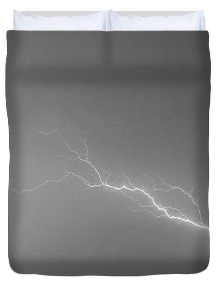 Lightning Bolts Coming In For A Landing Panorama Bw Duvet Cover by James BO  Insogna