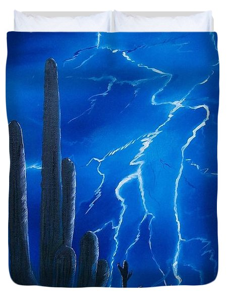 Lightning  Over The Sonoran Duvet Cover