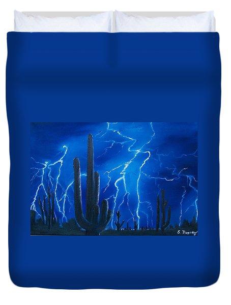 Lightning  Over The Sonoran Duvet Cover