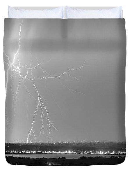 Lightning Strike Boulder Reservoir And Coot Lake Bw Duvet Cover by James BO  Insogna