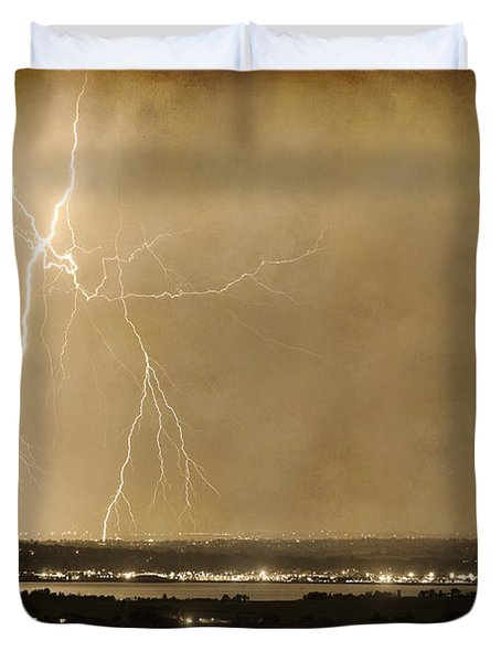 Lightning Strike Boulder Reservoir And Coot Lake Sepia 2 Duvet Cover by James BO  Insogna