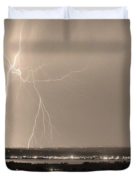 Lightning Strike Boulder Reservoir And Coot Lake Sepia Duvet Cover by James BO  Insogna