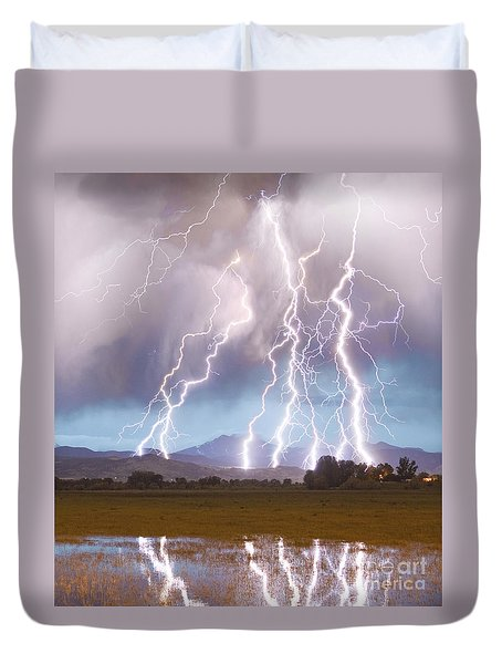 Lightning Striking Longs Peak Foothills 4c Duvet Cover