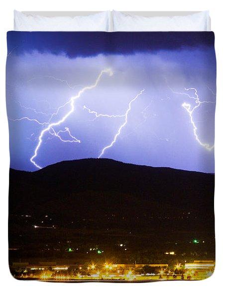Lightning Striking Over Ibm Boulder Co 3 Duvet Cover by James BO  Insogna