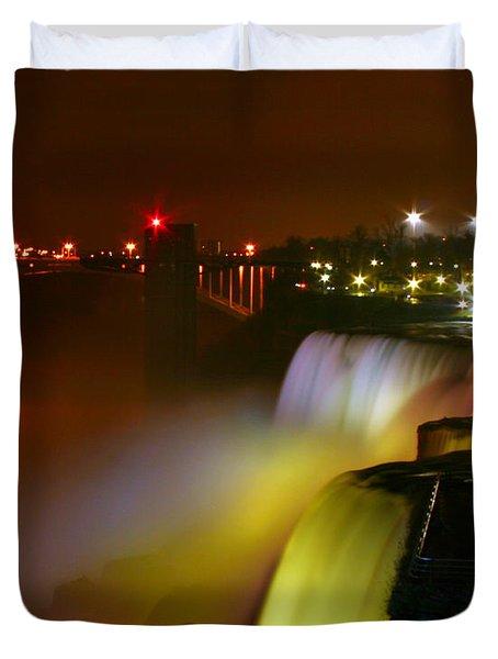 Lights On Niagara Falls Duvet Cover