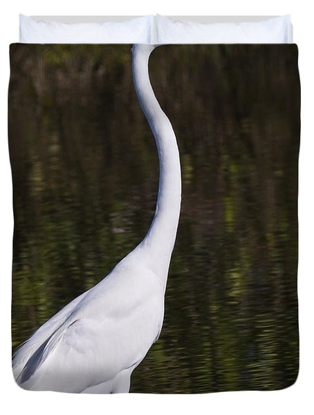 Like A Great Egret Monument Duvet Cover by John M Bailey