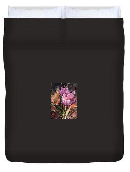 Lilac Crocuses Duvet Cover by Greta Corens