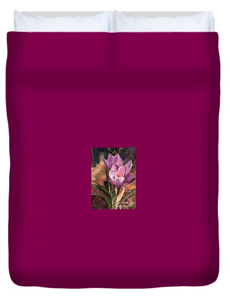Lilac Crocuses Duvet Cover