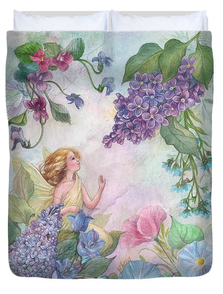 Lilac Enchanting Flower Fairy Duvet Cover