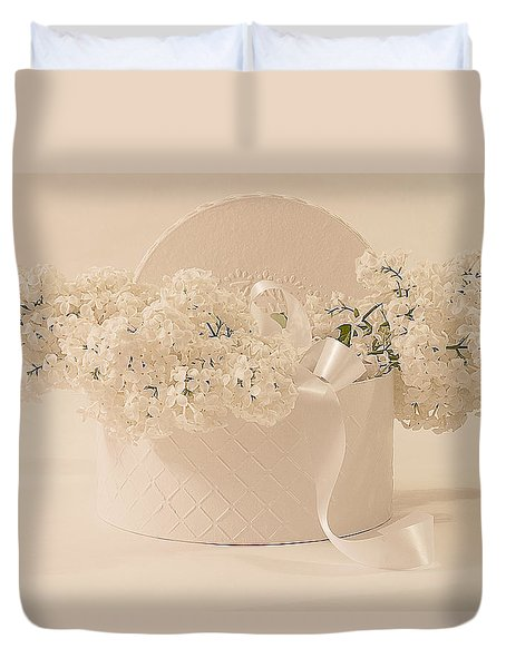 Lilac Purity In A Box Duvet Cover by Sandra Foster
