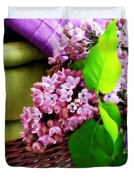 Lilac Still Life Duvet Cover by Lainie Wrightson