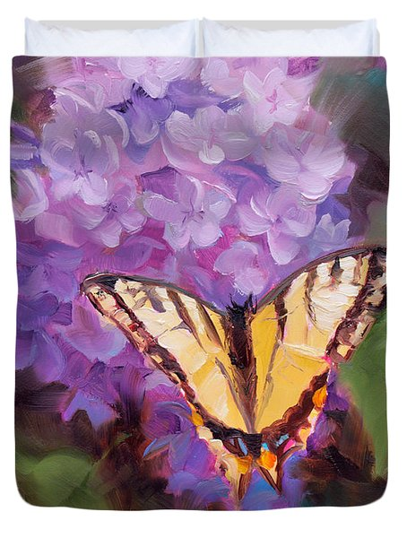 Lilacs And Swallowtail Butterfly Purple Flowers Garden Decor Painting  Duvet Cover